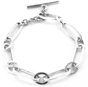 B727 KASI Sterling Silver Toggle Bracelet with Alternating Oval and Round Links