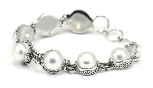 B793PL SANUR Sterling Silver Bracelet with 11mm Freshwater Pearls and Filigree Adornment