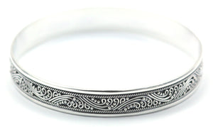 B901 DEWI Flat 10mm Wide Bangle With Ornate Filigree and Granulation Detail