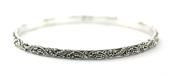 B906 DEWI Ornate Filigree and Granulation Bangle Bracelet