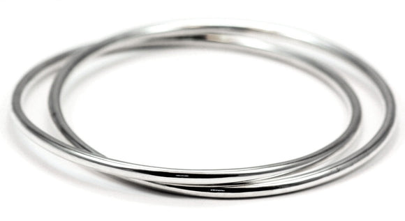 B907 SURA Two Interlaced Smooth Tubular Sterling Silver Bangle Bracelets