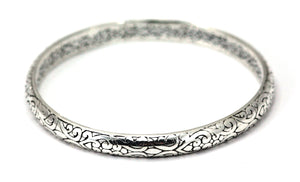 B909 WEDA Sterling Silver Heavy Ornate Filigree Carved Bangle Bracelet