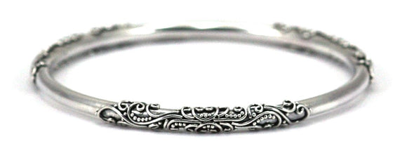 B912 DEWI Ornate Filigree Station Bangle Bracelet