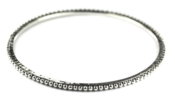 B925 DASA Bangle Bracelet With Hand Hammered Finish and Beaded Edge
