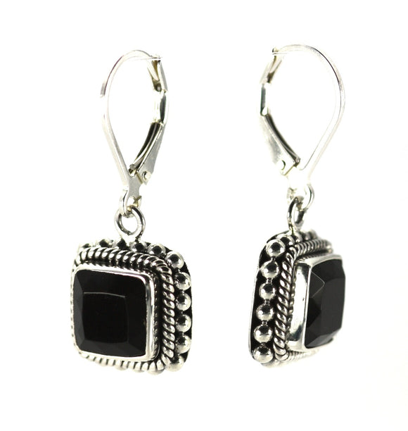 E002BOF PADMA Faceted Black Onyx Leverback Earrings with Granulation and Rope Trim.  Bali 925 Sterling Silver