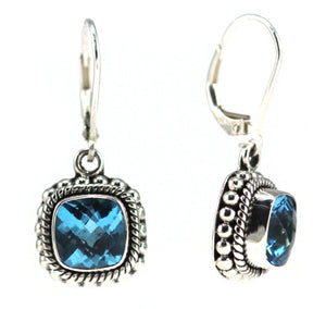 E002BT PADMA Faceted Swiss Blue Topaz Leverback Earrings with Granulation and Rope Trim.  Bali 925 Sterling Silver