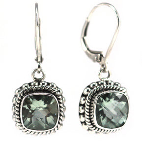 E002GA PADMA Faceted Green Amethyst Leverback Earrings with Granulation and Rope Trim.  Bali 925 Sterling Silver