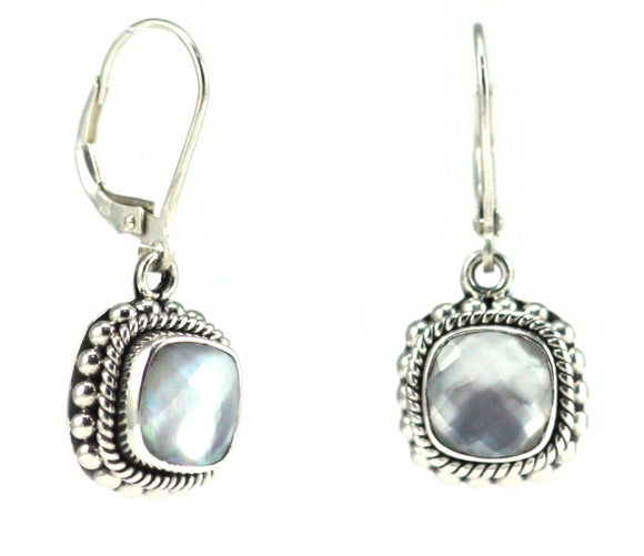 E002MPF PADMA Faceted Mother of Pearl Doublet Leverback Earrings With Granulation and Rope Trim.  Bali 925 Sterling Silver