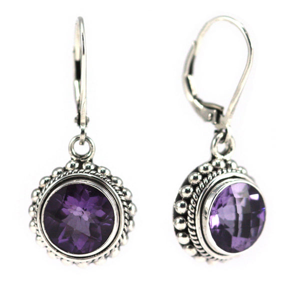 E003AM PADMA Round Faceted Amethyst Leverback Earrings With Granulation and Rope Trim.  Bali 925 Sterling Silver