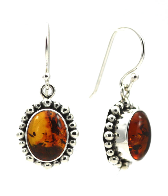 E004AB PADMA Amber Earrings With Beaded Trim.  Bali 925 Sterling Silver.
