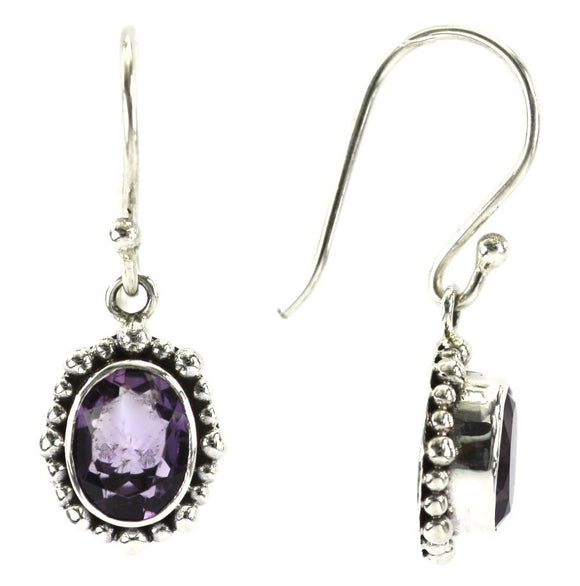 E004AM PADMA Amethyst Earrings With Beaded Trim.  Bali 925 Sterling Silver