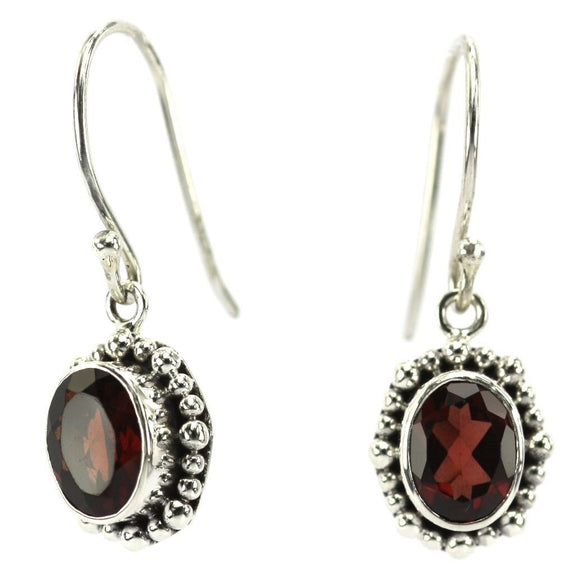 E004FG PADMA Faceted Garnet Earrings With Beaded Trim.  Bali .925 Sterling Silver