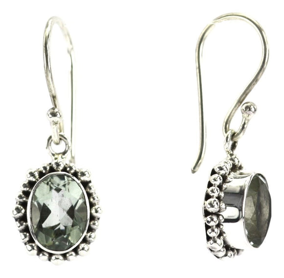 E004GA PADMA Faceted Green Amethyst Earrings With Beaded Trim.  Bali 925 Sterling Silver
