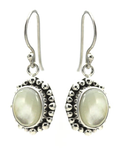 PADMA Mother of Pearl Earrings With Beaded Trim.  Bali 925 Sterling Silver.  E004MP