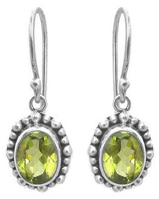 E004PD PADMA Faceted Peridot Earrings With Beaded Trim.  Bali .925 Sterling Silver