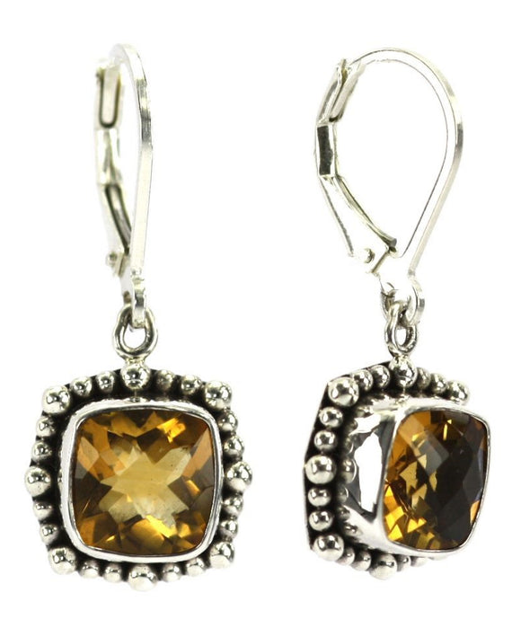 E005CT PADMA Faceted Citrine Earrings With Beaded Trim.  Bali 925 Sterling Silver