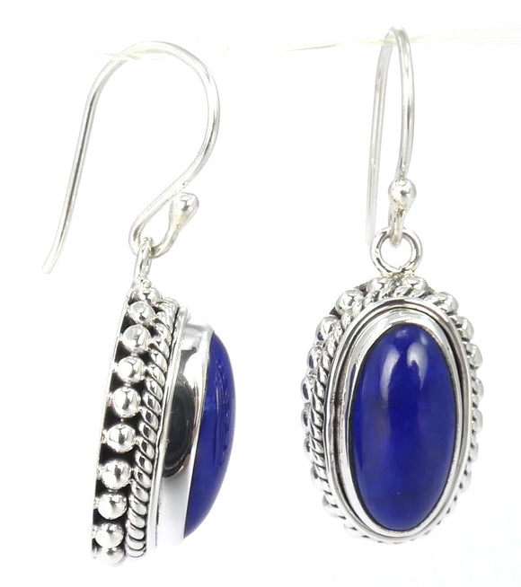 E007LA PADMA Cabochon Lapis Earrings With Beaded Trim.  Bali .925 Sterling Silver