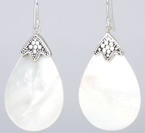 SANUR Mother of Pearl Earrings.  Bali .925 Sterling Silver.  E008MP