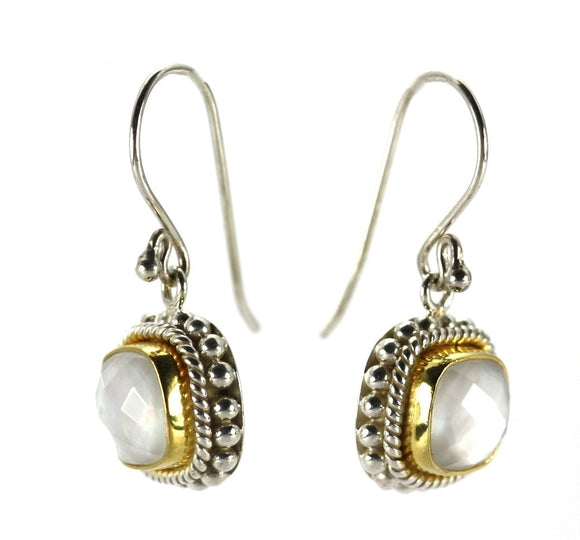 PADMA Mother of Pearl Doublet Earrings With Beaded Trim and 18k Gold Vermeil.  Bali 925 Sterling Silver.  E009MPFG