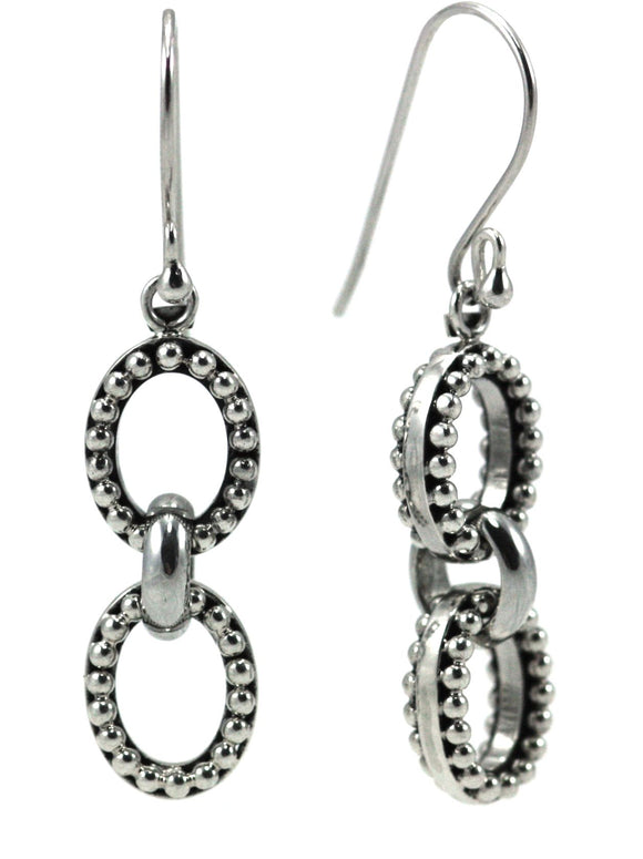 E011 INDA Hand Beaded Oval Link Earrings.  Bali .925 Sterling Silver.