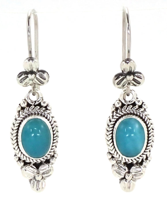 E012AZ P A D M A  .925 Sterling Silver Bali Earrings with Amazonite