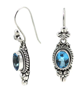 E012BT PADMA Faceted Swiss Blue Topaz Earrings with Floral Design.  Bali .925 Sterling Silver