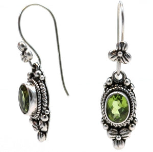 E012PD PADMA Faceted Peridot Earrings with Floral Design.  Bali .925 Sterling Silver