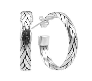 E020 ANYA Woven Strand Earrings.  Bali .925 Sterling Silver.