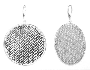 E020L ANYA Large Basket Weave Round Earrings.  Bali .925 Sterling Silver.