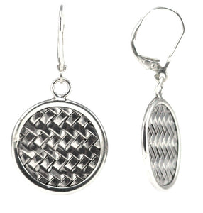 E022 ANYA Basket Weave Round Disc Earrings.  Bali .925 Sterling Silver