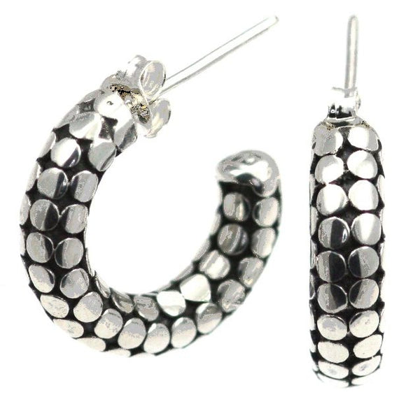 E085 KALA Classic Bali Dot Design Earrings.  Bali .925 Sterling Silver.