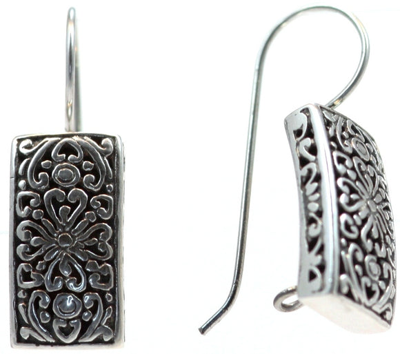 WEDA Rectangular Floral Earrings.  Bali .925 Sterling Silver.  E102