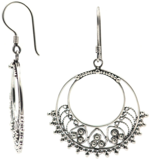E112 FILI Hand Filigree and Granulation Earrings.  Bali .925 Sterling Silver