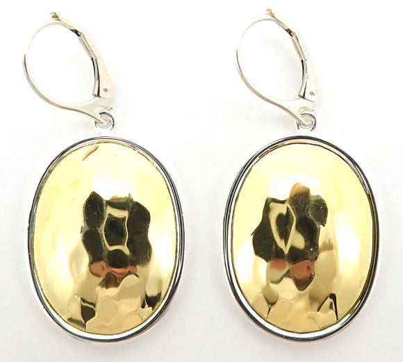 E124G DASA Hammered Oval Earrings with 18k Gold Vermeil
