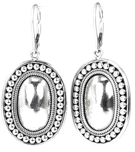 RAYA Mirror Dome Earrings Beaded Border.  Bali .925 Sterling Silver.  E160