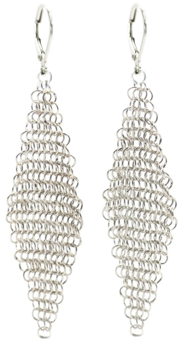 SURA Silver Mesh Chandelier Earrings.  Bali .925 Sterling Silver.  E161