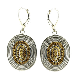 E176G RAYA Hand Beaded Oval Earrings with Rope Trim and 18k Gold Vermeil.  Bali .925 Sterling Silver.