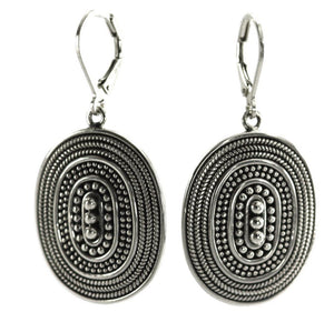 RAYA Hand Beaded Oval Earrings with Rope Trim.  Bali .925 Sterling Silver.  E176