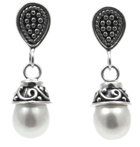 SANUR Pearl Post Drop Earrings Filigree and Beaded Trim.  Bali .925 Sterling Silver.  E179PL