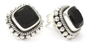 E200BOF PADMA Faceted Black Onyx Post Earrings With Hand Beaded Rope Trim.  Bali .925 Sterling Silver