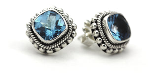 E200BT PADMA Faceted Swiss Blue Topaz Post Earrings With Hand Beaded Rope Trim.  Bali .925 Sterling Silver