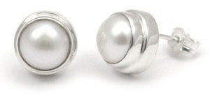 E216PL SANUR Sterling Silver Post Earrings with Freshwater Pearls