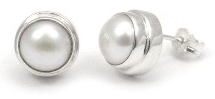 SANUR Freshwater Pearl Post Button Earrings.  Bali .925 Sterling Silver.  E216PL