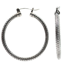 DEWI Large Round Herringbone Earrings.  Bali .925 Sterling Silver.  E217L