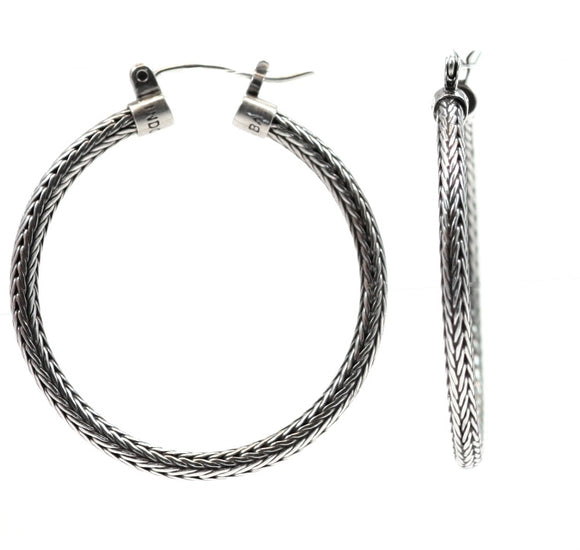E217L DEWI Large Round Herringbone Earrings.  Bali .925 Sterling Silver