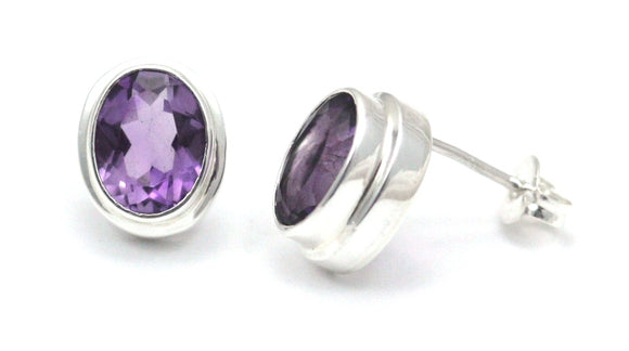 E222AM PADMA Amethyst High Polish Polos Finish Post Earrings.  Bali .925 Sterling Silver