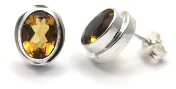 E222CT PADMA Faceted Citrine High Polish Polos Finish Post Earrings.  Bali .925 Sterling Silver