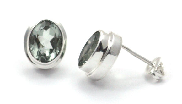 E222GA PADMA Faceted Green Amethyst High Polish Polos Finish Post Earrings.  Bali .925 Sterling Silver