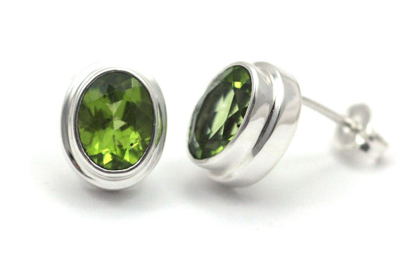 E222PD PADMA Faceted Peridot High Polish Polos Finish Post Earrings.  Bali .925 Sterling Silver