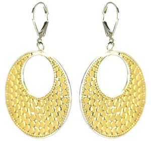 E234G KALA Classic Bali Dots Flat Round Earrings with 18k Gold Vermeil.  Bali .925 Sterling Silver.